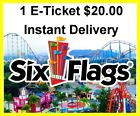 Kyпить Six Flags Theme Park 1 Day Admission Ticket 22.00 each E-Delivery на еВаy.соm