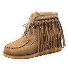 Vintage Women Suede Tassel Fringe Moccasin Boots Casual Flat Slouch Ankle Shoes