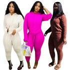 Kyпить Women Hooded Long Sleeves Knit Sweater Solid Color Casual Bodycon Pants Set 2pc на еВаy.соm