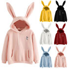 Women Rabbit Ear Hoodie Sweatshirt Long Sleeve Bunny Hooded Pullover Tops Jumper