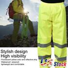Hi Vis Viz Work Trouser Men Half Elasticated Waist Reflective Stripe Safety US