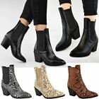 Womens Ladies Mid High Block Cuban Heel Ankle Boots Pointed Stretch Pull On Shoe
