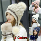 1 Set Fashion Women Winter Hat Gloves Set Warm Snow Hats Knitted Caps and Gloves