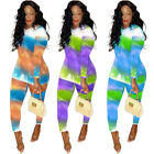 Women Long Sleeves Colorful Print Casual Club Party Bodycon Long Pants Set 2pc