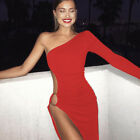 Women Sexy One shoulder Long sleeve Sliver High Slit Clubwear Stage Party Dress