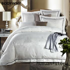 White Gold Silk Jacquard Luxury Bedding Set QUEEN KING SIZE Cotton Bed Sheet Hot image