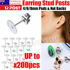 100/ 200 Flat Stud Earring Post 6/8mm Pads And Backs Hypoallergenic Surgical St