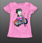 Betty Boop Rider Funny Kids, Girls Quality T-shirt Short Sleeve Top £12.99 GBP on eBay