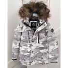 HOLLISTER MENS DOWN PARKA JACKET COAT WHITE CAMO SIZE SMALL
