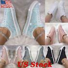 Women's Glitter Sneakers Casual Bling Flat Shoes Ladies Rhinestone Ankle Shoes