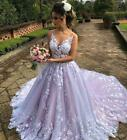 A Line Wedding Dresses Sheer Neck Lace Appliques Backless Bridal Ball Gowns New