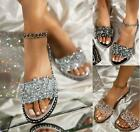 Womens Flat Summer Diamante Sandals Jewels Embellished Gem Ankle Strappy Size UK