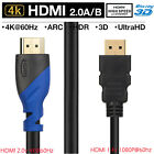 2pcs Short HDMI Cable 3D Ultra HD 1080P 4K@60Hz 28AWG High Speed Gold Plated US