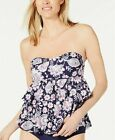 NWT Island Escape Santa Barbara Tiered Tankini Top Navy Paisley