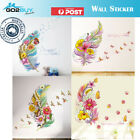 Wall Stickers Removable Feather Butterfly Flowers Kids Mural Room Decal Romantic