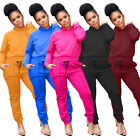 Women Hooded Long Sleeves Solid Color Casual Club Party Sports Pants Set 2pc