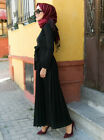 Women Pleated Long Maxi Dress Abaya Knitted Robe Dubai Kaftan Islamic Party Gown