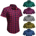 Tops COOFANDY Shirts Men T-shirts Plaid Slim Fit Short Sleeve Turndown RCAI 04