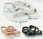 GIRLS KIDS CHILDRENS INFANTS FLAT SUMMER PARTY DIAMNTE PARTY SANDALS SHOES SIZE