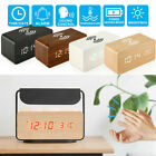 Digital LED Alarm Wooden Clock Thermometer Qi Wireless Charger Sound Control