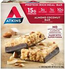 Atkins Protein-Rich Meal Bar Almond Coconut Keto Friendly 5 Count