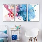 wall26 - 3 Panel Canvas Wall Art - Red and Blue Spilled Paint Watercolor Decor