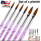 6x Pcs  Kolinsky Sable Brush Pen Acrylic Nail Art Builder 2#/4#/6#/8#/10#12#