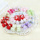 10-100Pcs 3D Small Puppy Pet Dog Rhinestone Hair Bow Best Grooming Bands F6A8
