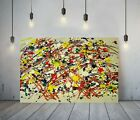 JACKSON+POLLOCK+29+-FRAMED+CANVAS+ARTIST+WALL+ART+PAPER+PICTURE+PRINT-RED+YELLOW