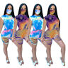 Women Sleeveless Tie Dyed Print Casual Burn Out Hole Short Pant Set 2pc(no Mask)