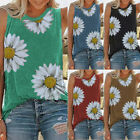 Women Summer Vest O-neck Flower Print Tank Top T-Shirts Floral Sleeveless Blouse