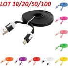 3FT LOT 10/20/50/100 Noodle Flat Micro USB Data Charging Cable Charger Cord