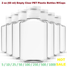 2 oz (60 ml) Empty Clear PET Plastic Bottles W/ Flip Top Caps - 5 to 1000 packs
