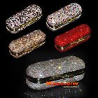 Bling Crystal Portable Lip Lipstick Rouge Case Holder Box With Mirror Makeup