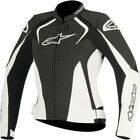 Alpinestars Womens Black/White Stella Jaws Leather Motorcycle Riding Jacket