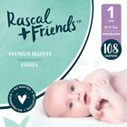 Rascal & Friends Premium Diapers, Size 1, 108 Count