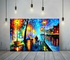AFREMOV 1 -DEEP FRAMED CANVAS WALL ART PAINTING PICTURE PAPER PRINT- BLUE ORANGE