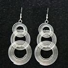 New Gold/Sliver Tone Statement Big Round Drop Hook Dangle Earrings Handmade UK