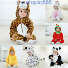Newborn Infant Baby Boy Girl Hooded Cartoon Romper Jumpsuit Outfits Clothes