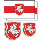 Belarus Pagonya Flag Vinyl Sticker Set Car Window Laptop White Knight WHITE RED