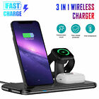 Wireless Charger 3in1 Fast Charging Dock Stand For Apple Watch iPhone 11 Samsung