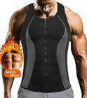 Men's Sweat Waist Trainer Zip Vest Weight Loss Top Neoprene Body Shaper Slimming