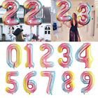 Gradient Color Foil Number Balloons Birthday Party Decoration Air Globe 0-9 New