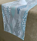 Gray Table Runner Aqua Turquoise Dot Table Linens Dining Room Kitchen Decor
