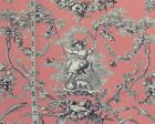 Pink toile de Jouy fabric French home decorating material BTY
