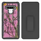 Pink Real Tree Camo Hybrid Armor Belt Clip Rugged Case For LG Phone Series