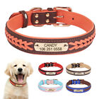 Soft Braided Leather Personalised Dog Collar Custom Nameplate Tag Engraved S-2XL