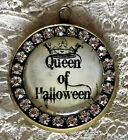 QUEEN OF HALLOWEEN Handmade Glass Rhinestone PENDANT NECKLACE Witch Vintage Card