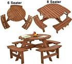 6 Or 8 Seaters Wood Garden Furniture Set Round Picnic Dining Table & Bench Chair