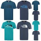 Men's The North Face T Shirt Crew Neck Tee Mountain Line Woodcut Dome Blue Green
